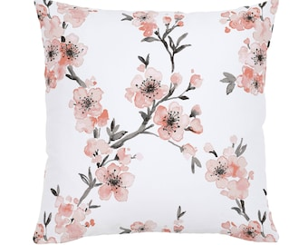 Light Coral Cherry Blossom Throw Pillow by Carousel Designs. Made in the USA.