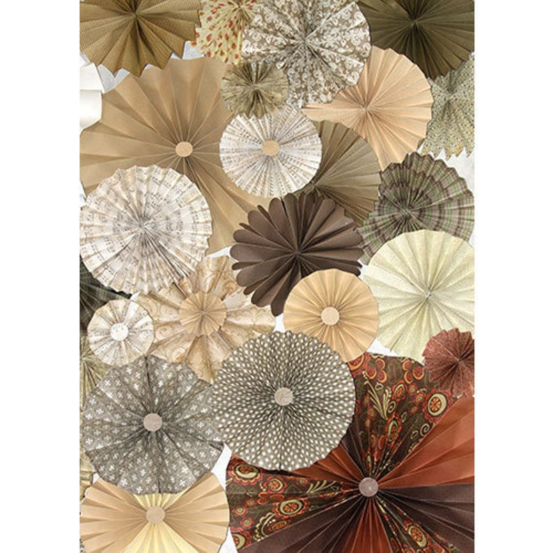 Tan Cream Ivory Brown Rosettes Paper Fans Wedding Pinwheel Backdrop Decor Paper Rosettes Party Decorations Woodland party fall wedding