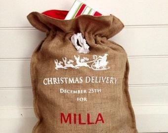 Personalised Hessian Santa Christmas Sack in White Print
