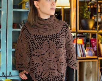 PDF CROCHET PATTERN - Crochet Poncho Pattern, Easy Crochet Pattern, Crochet Pullover Pattern, Womens Poncho, Sweater Pattern,