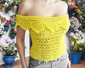 PDF CROCHET PATTERN - Off Shoulders Top, Summer Top, Bikini Top, Clothing Pattern, Beach Wear, Festival Top, Boho Top, Easy Crochet Pattern