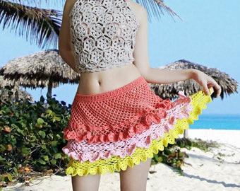 CROCHET PATTERN - Crochet Layered Skirt Pattern Crochet Mini Skirt Crochet Lace Skirt Crochet  Summer Skirt Crochet Beach Wear