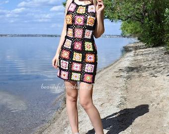 CROCHET PDF PATTERN - Crochet Tunic Pattern, Granny Square Tunic, Summer Dress, Crochet Mini Dress, Crochet Lace Tunic, Crochet Coverup