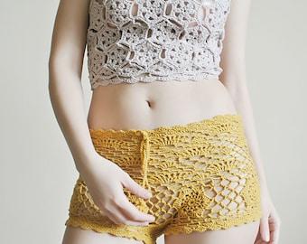 CROCHET PATTERN Crochet Shorts Pattern Lace Shorts Beach Shorts  Boho Shorts Crochet Pattern Plus Size Crochet Pants High Waisted