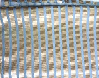 """Gold and Blue Stripe Blend Fabric.  58"""" wide and sold by the yard"""