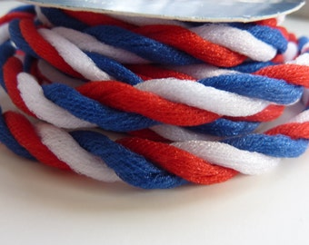 "Red, White, Blue Twisted Sparkle Tulle Twist Cord Trim 1/4"" x 1.5 yards"