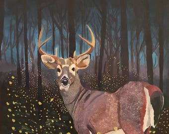 "A4 art print glossy paper ""deer with fireflies"""