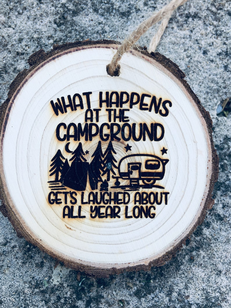 What Happens At The Campground Funny Christmas Ornament