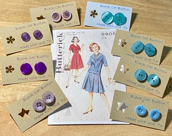 Button Box Earrings - Vintage,Retro, Old! Blue.