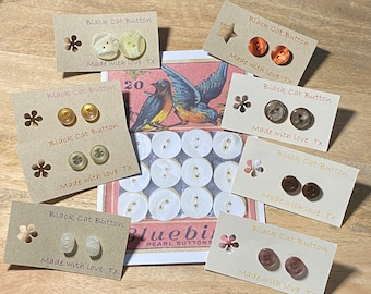 Button Box Earrings - Vintage, Retro, Old. Neutrals.
