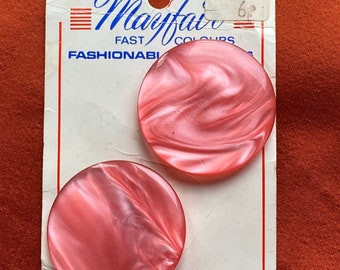 Mayfair Fashionable Buttons - 2 pink retro buttons on card. Price reflects inflation!