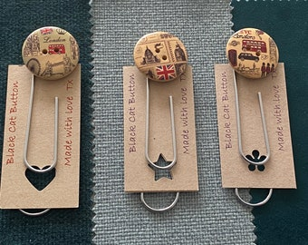 Big Button Bookmark or Giant Paperclip - London