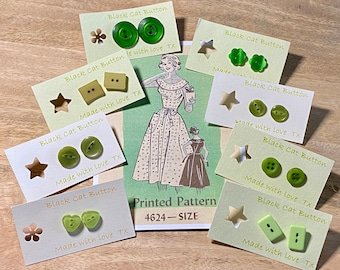 Button Box Earrings - Vintage, Retro, Old! Greens.