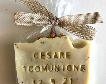 Communion-event-favor personalized soap with name and / or date - Child-Child-Adult - Natural soap with herbs and spices.