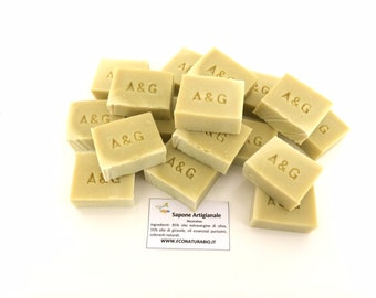 Set of 50 custom 30g handmade, 30g-like hand-made handout craft soaps. Colors and fragrances of choice between herbs and natural spices