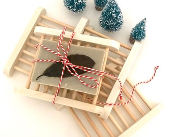 Set of Natural Soaps with Bamboo Soap Rack - Gift Set - Handmade Olive Oil Soaps with Herbs and Spices - Christmas Gift