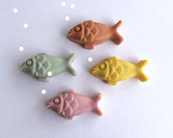 Fish Soap - 4 Pesciolini di Sapone Artigianale, 4 Alice Handmade Soaps, Alici di sapone, Sea Soap Set, Saponi sea inspired, Saponi di mare.