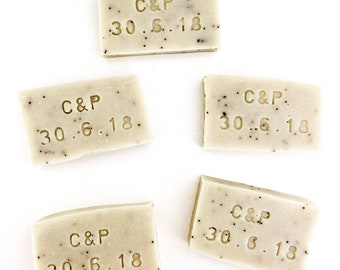 Set of 50 custom handcrafted soaps of 30-40g rectangular with engraving. Extra virgin olive oil soap of your choice.