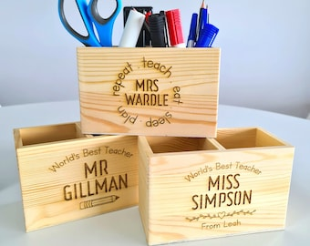 Personalised Teacher Gift, Teacher Desk Organiser Present, End Of Year Present, Educator Preschool Teacher, Pencil Holder, Stationary Holder