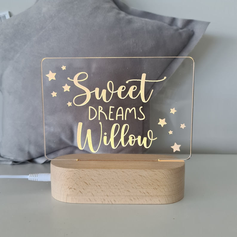 Personalised Name Children's Night Light Sweet Dreams image 0