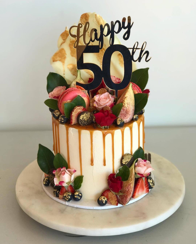 Happy 50th Acrylic ROSE GOLD Mirror Birthday Cake Topper ...