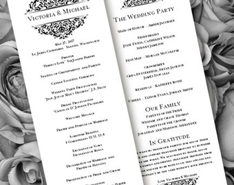 Wedding Ceremony Program Template Tea Length Grace Black