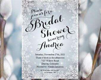 a7904f41441 Snowflake Bridal Shower Invitations Winter Wedding Shower Printable Bridal  Shower Invitation Templates Make Your Own Invitations DIY U Print