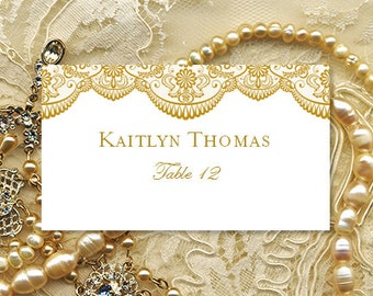 place card template vintage lace gold worddoc template compat avery 5302 instant download order any color make your own you print