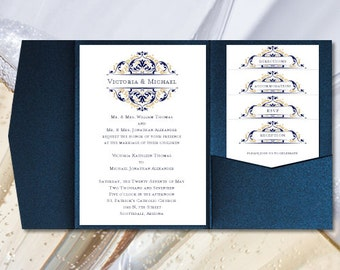 Diy pocketfold wedding invitations kaitlyn malibu diy pocketfold wedding invitations grace navy blue champagne gold printable word templates instant download order 1 or 2 colors u print solutioingenieria Images