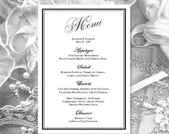 printable wedding menu template infinity love etsy