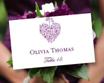printable place card template hearts purple editable microsoft word tent card avery 5302 compat order any color diy you print