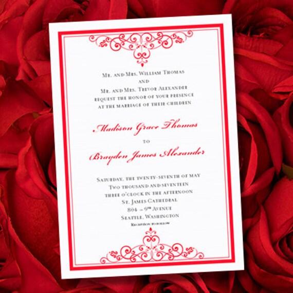 Invitaciones de boda vintage Rojo Plantilla para | Etsy