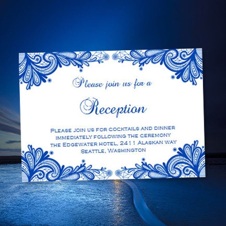 Wedding Reception Invitation Vintage Lace Cobalt Blue Printable Template Editable Word Doc Instant Download All Colors Av Diy You Print