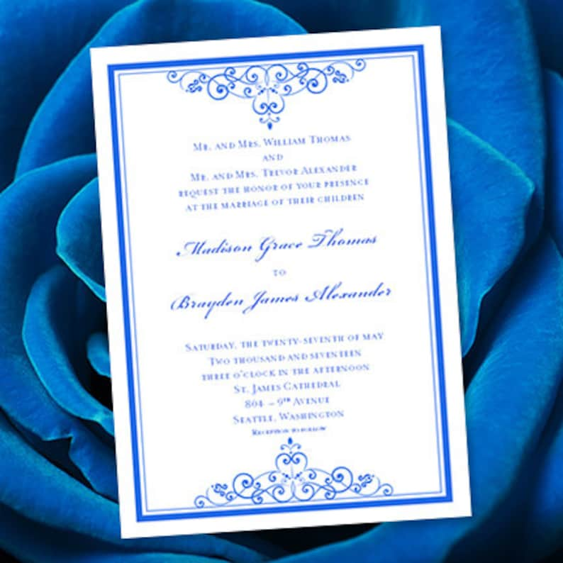 Royal Blue Wedding Invitation Template Editable Microsoft Word Etsy