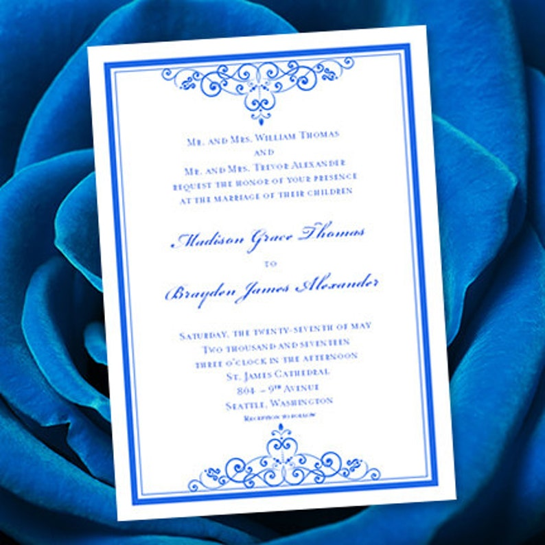 Create Invitation Template: Royal Blue Wedding Invitation Template Editable Microsoft