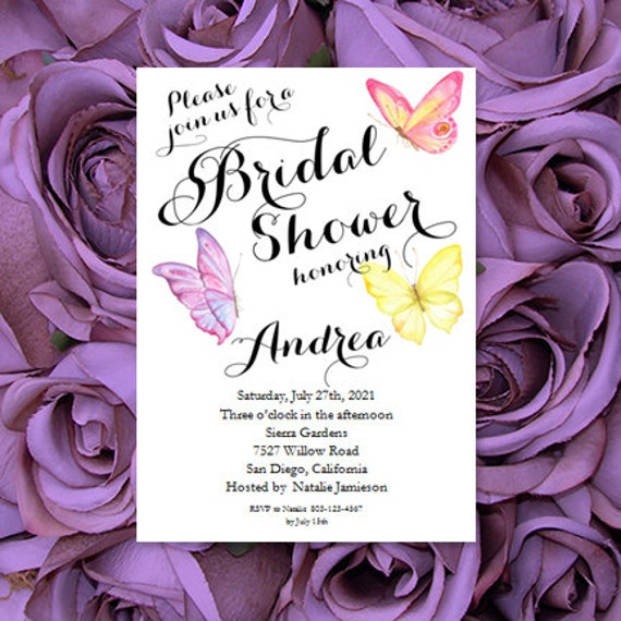 butterfly bridal shower invitation templates printable wedding