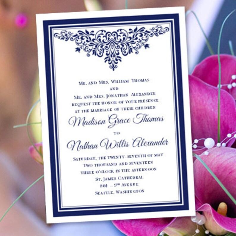 ac5fa507560 Boda invitación plantillas Ana Maria azul marino | Etsy