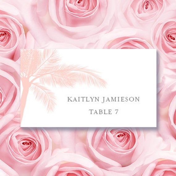 Place Card Printable Template Palm Tree Blush Pink Etsy