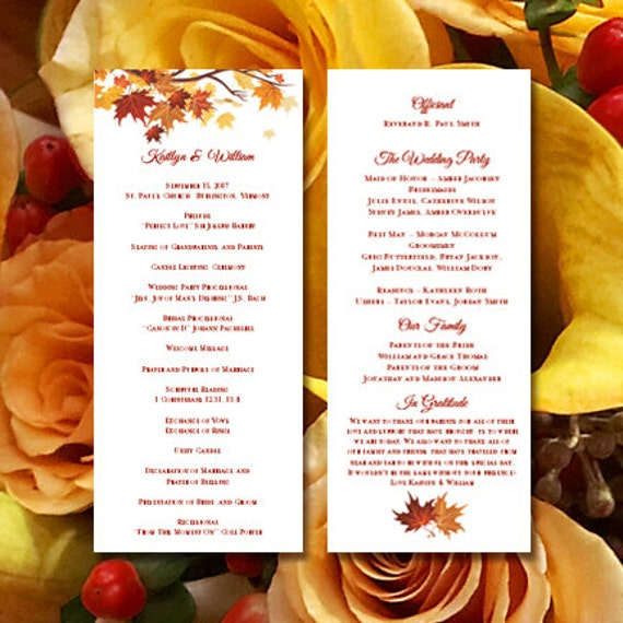 printable wedding ceremony program template falling etsy