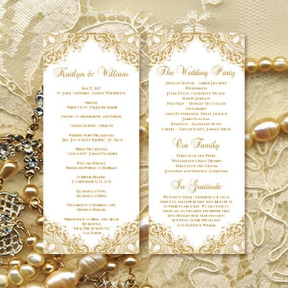 wedding ceremony program template vintage gold etsy