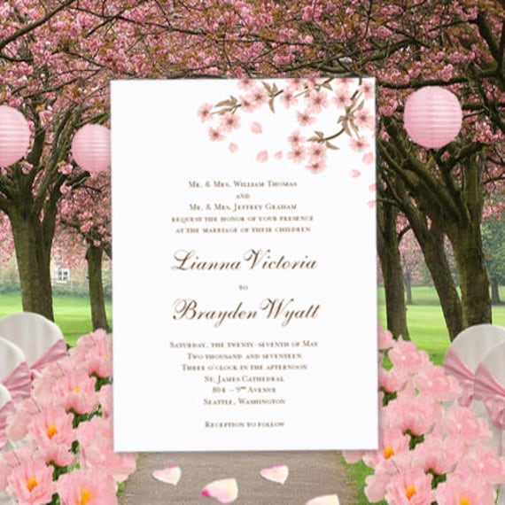 cherry blossom printable wedding invitations editable word doc etsy