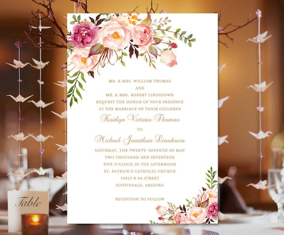 Printable Wedding Invitation Template Romantic Blossoms Instant Download Editable Word Doc Make Your Own Invitations DIY U Print