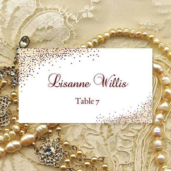 printable place card confetti burgundy gold etsy