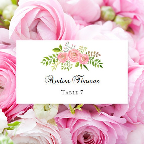 Carte Place Plat Imprimable Aquarelle Floral 7 Edit