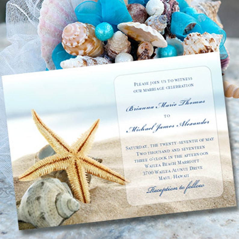 Wedding Invitations Beach Theme Starfish Etsy