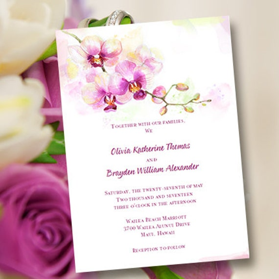 Printable Wedding Invitation Template Orchid Etsy