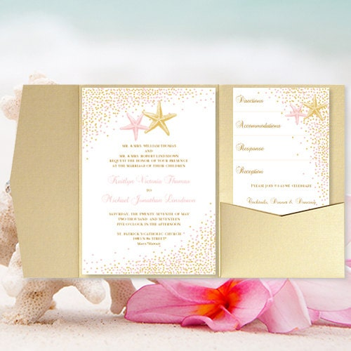 Etsy Beach Wedding Invitations: DIY Pocket Fold Beach Wedding Invitation Confetti