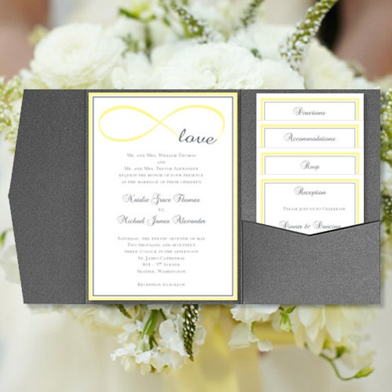 Diy Pocketfold Wedding Invitations Infinity Love Yellow Gray Printable Templates Instant Download Order Any 1 Or 2 Colors Diy You Print
