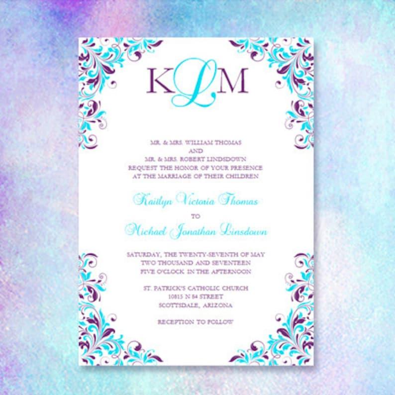 Purple Turquoise Wedding Invitation Kaitlyn Etsy