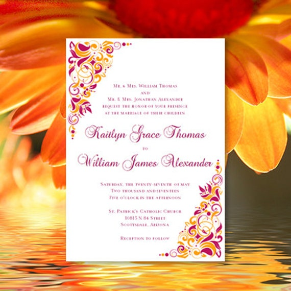 Sangria Wedding Invitations: Printable Wedding Invitation Gianna Sangria And